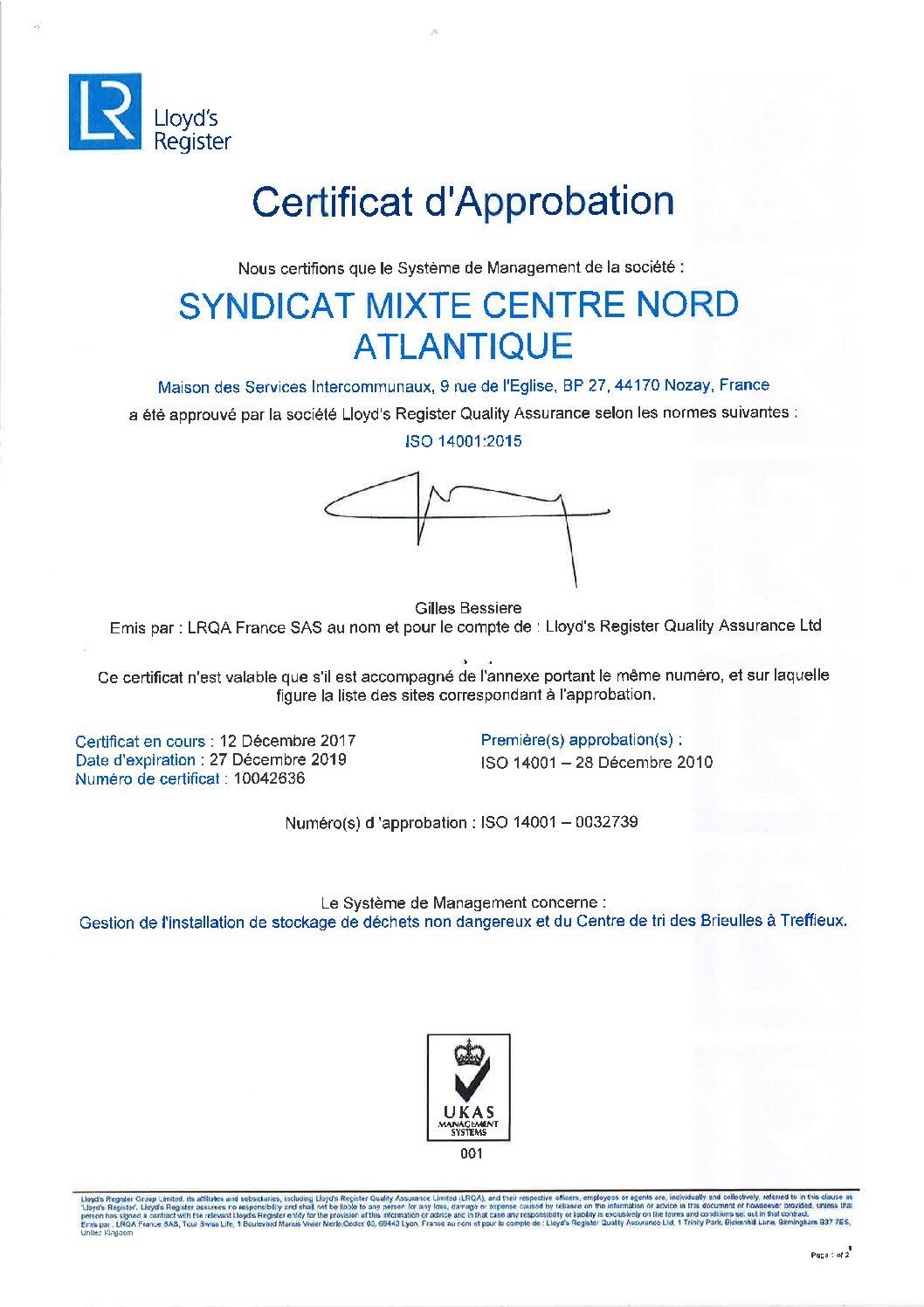 certificat ISO14001